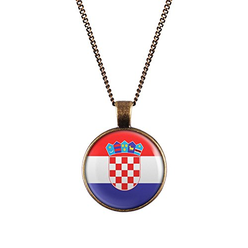 WeAreAwesome Kroatien Flagge Halskette - Länderkette mit Fahne Anhänger Unisex Kette