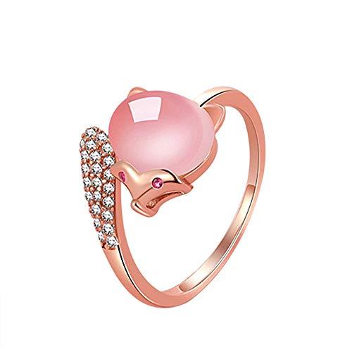 minjiSF Anillo personalizado para niñas y mujeres, ajustable, con diamantes de imitación, rosa claro, cristal, piedras preciosas, anillo de compromiso, regalo de joyería