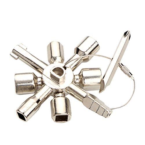 Llave multifunción de triángulo cuadrado para gas, agua, medidor eléctrico, control de gabinete de control de radiador, color plateado