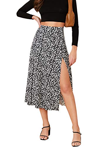 Verdusa Women's Sexy Boho Floral Split Thigh High Waist Swing Midi Skirt Black L