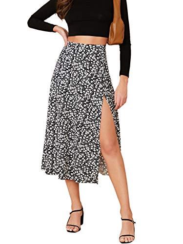 Verdusa Women's Sexy Boho Floral Split Thigh High Waist Swing Midi Skirt Black XS