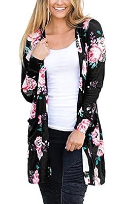 ECOWISH Womens Boho Irregular Long Sleeve Wrap Kimono Cardigans Casual Coverup Coat Tops Outwear Black2 L