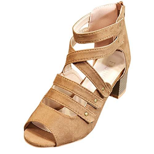 SANFASHION Mode Frauen Reißverschluss Atmungsaktive Sandalen Damen Platz Ferse Peep Toe Schuhe Cross-Tied Bandage Sommerschuhe