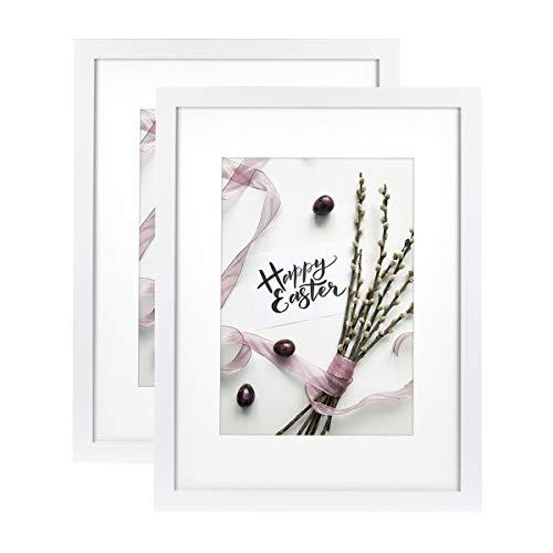 Home&Me 100% Echtholz Bilderrahmen Weiß 30x40cm 2er Set -mit Passepartout 21x30 cm (A4), Fotorahmen mit Echtglas für Zertifikat zum aufhängen