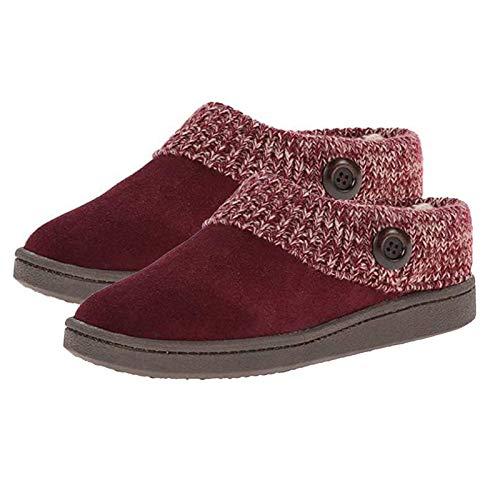 Clenp Botines De Mujer, Botines De Mujer, Botines Planos Cálidos con Parche De Tela De Botón De Invierno para Mujer, Zapatos De Casa Rojo Vino 42