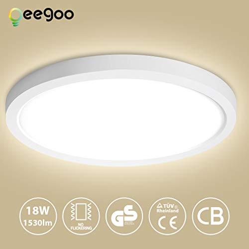 Oeegoo LED Deckenlampe, Flimmerfreie Deckenleuchte 18W 1530lm (100W Glühlampe Ersatz), 13mm Ultraslim einstellbar Einbauleuchte, Led Bürodeckenleuchte, Flurlampe, Wohnzimmerlampe 4000K