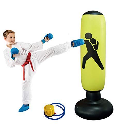 KIKILIVE Sacco da Boxe da 160 cm, Sacco da Boxe per Bambini Sacco da Sabbia per Colonna Gonfiabile da appoggio Gonfiabile Sacco da Kickboxing per Allenamento con Pompa ad Aria a Pedale