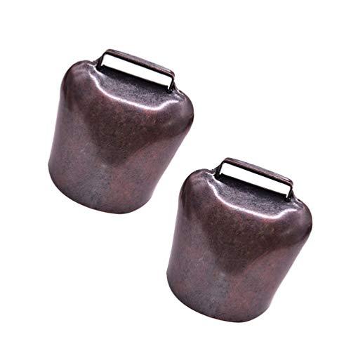 EXCEART 2 Stücke Kuhglocke Ziegenglocke Antik Metall Glockenschelle Hängende Eisen Glocke Deko Krachmacher DIY Bastel ca. 6,3 x 4,8 x 3 cm