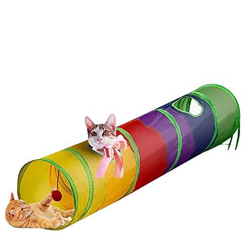 AOKUY Túneles para Gatos,Túnel de Gato3 Vías Plegable Juguete del Gato/Divertido Juego Juguete Tubo/Túnel de Juguete con Pelota para Mascota Gatos Conejos Cachorro Uso Interior y Exterior …