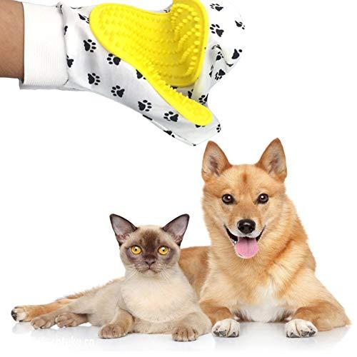 EtophHigh Pet Verzorgingshandschoen, borstel voor hond, handschoen voor huisdieren, kam voor haren, verzorgingshandschoen, massagekam voor de reiniging, verwijdert losse haren, Wit.