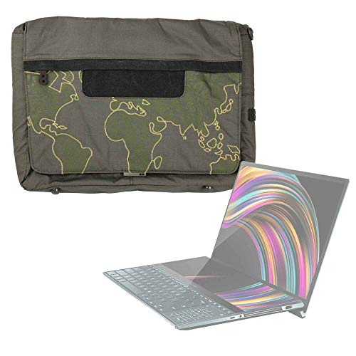 DURAGADGET Bolso con Bandolera Verde con Mapamundi para Portátil ASUS ZenBook Pro Duo (UX581) - con Múltiples Bolsillos