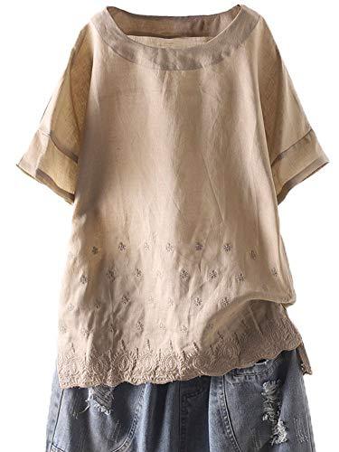 Mallimoda Damen Leinen Bluse Tunika Sommer Fledermaus Geblümt T-Shirt Freizeit Oberteil Leichte Khaki XL