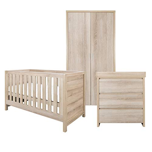 Tutti Bambini Modena Nursery Furniture Set (3 Piece) | Convertible Baby Cot Bed, Chest of Drawers Changer and Wardrobe Set | Solid Wood Furniture (Oak)