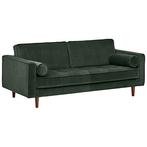 Amazon Brand – Rivet Aiden Mid-Century Modern Tufted Velvet Loveseat Sofa, 74'W, Hunter Green