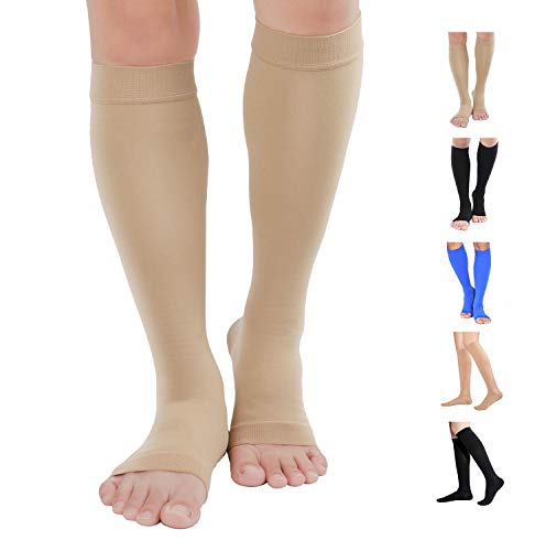 Knee High Compression Stockings, TOFLY Firm Support 20-30mmHg Opaque Maternity Pregnancy Compression Socks, Open-Toe, Ankle & Arch Support, Swelling, Varicose Veins, Edema, Beige L