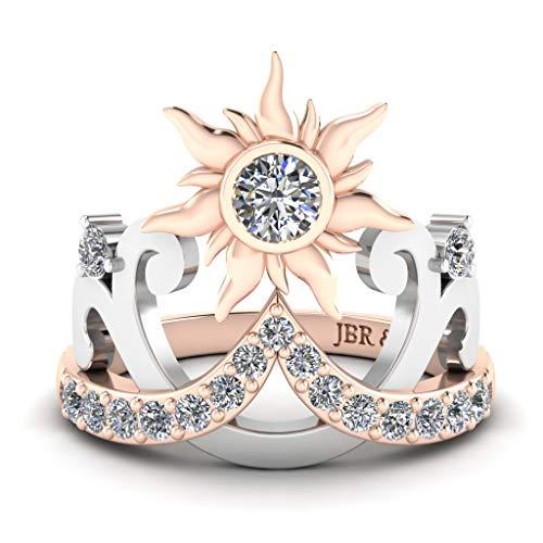 JBR Rapunzel - Tiara de sol de diamante de plata de ley 925 con anillo de compromiso, anillo de compromiso para aniversario de novia con caja de regalo