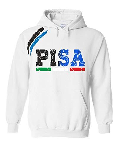 vestipassioni Felpa Pisa Cappuccio Sport Tifosi Ultras Calcio Supporter Made in Italy(XL, Bianco)