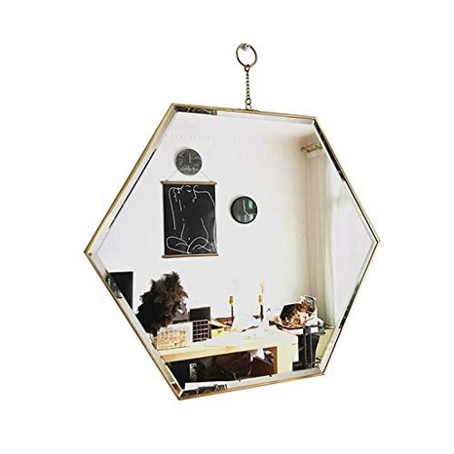 KaxJZ Decoración del hogar Espejos Arte del hierro Espejos del maquillaje de alta definición Baño de belleza multifunción Espejos Dormitorio Espejos de pared de estilo nórdico Pasillo de la entrada Es