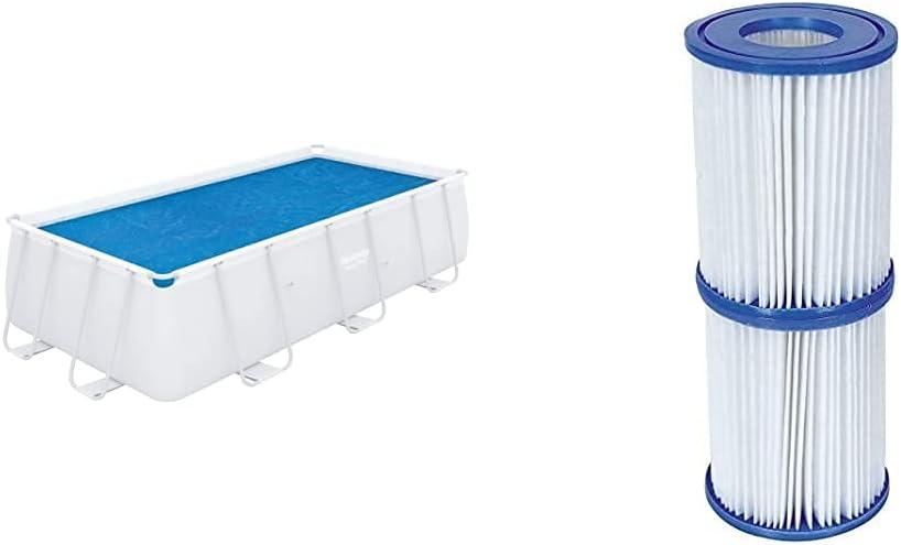 Bestway 58240 - Cobertor Solar para Piscina Desmontable 380X180 Cm Rectangular Fácil De Instalar Y Retirar + 58094 - Set De Dos Filtros De Agua Tipo II para Depuradora De Cartucho