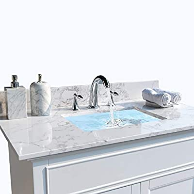 """49??X22?? Vanity Top Stone Carrara White Tops with Undercounter Rectangular Ceramic Bathroom Sink and Back Splash for Bathrom Cabinet Natrual Marble Stone 8"""" Faucet Holes"""