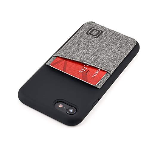 Dockem iPhone SE 2, iPhone 8 y 7 Tarjetera de Silicona Líquida: Cartera con Mayor Protección, Placa Metálica Incorporada para una Montura Magnética: Luxe M2L (Negro y Gris)