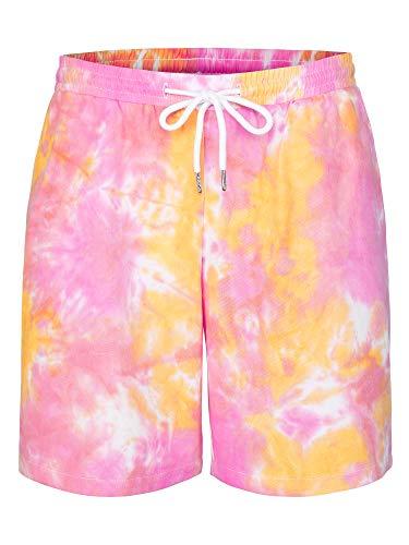 Lars Amadeus Pantalones Cortos Pijama De Dormir De Algodón Cordón De Cintura Efecto Tie Dye Entrenamiento De Verano para Hombre Amarillo Rosa 32