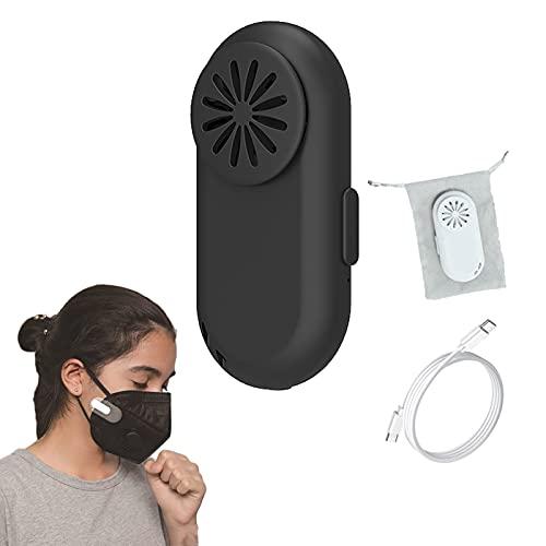 Purificatore d'aria indossabile con dispositivo di raffreddamento del respiro, purificatore d'aria ionizzatore personale ricaricabile - Filtro dell'aria a clip portatile riutilizzabile con USB (Black)