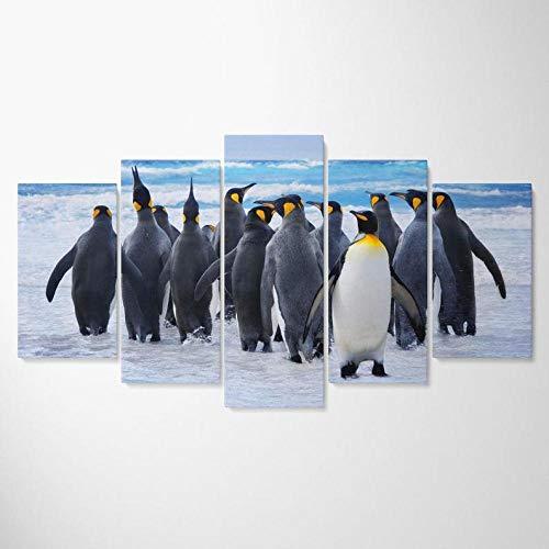 Gxucoa Cuadro sobre Impresión Lienzo 5 Piezas Nieve De La Colonia De Pingüinos Extremo HD Arte De Pared Modulares Sala De Estar Dormitorios Decoración para El Hogar Póster