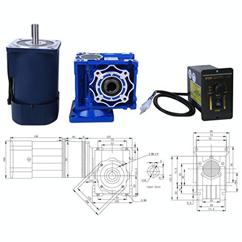 Motor reductor de engranaje helicoidal, motor de control de velocidad de CA, 120 W para equipos de oficina, equipos para el hogar inteligente(Reduction ratio 5k, pink)