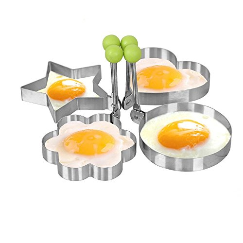 Fried Egg Mold Ring 4pcs Pancake Shapes Cooker  Nonstick Stainless Steel Cooking Tools for Frying Baking Cooking