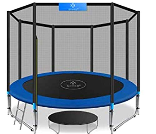 REYO Trampoline with Hoop Combo Bounce Jump Trampoline for Kids Outdoor Entertainment with/Safety Enclosure Net Spring Pad Ladder (12 FT)
