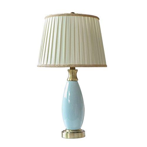 Schreibtischlampen Tischlampe Europäische minimalistische Tischlampe, hochwertige Plissee Tuch Lampenschirm Wohnzimmer Hotel Tischlampe, Mode hellblau Keramik Lampe Körper Schlafzimmer Nachttischlampe