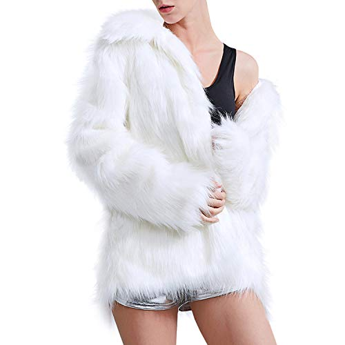 Zicac Women's Faux Fur Jacket Winter Warm Fur Coat Luxury Long Sleeve Overcoat Outerwear Parka(White, US M/Asia Tag XXL)