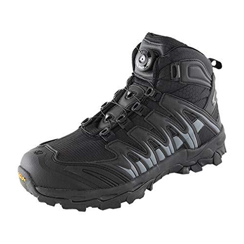 emansmoer Homme Imperméable Respirant Outdoor Sport Chaussures de Randonnée Trail Trekking High-Top Armée Combat Bottes (42 EU, Noir)