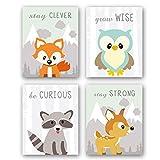 4er Set Tier Kinderzimmer Bild Babyzimmer Poster,Waldtiere