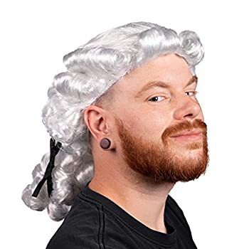 Colonial Powdered Wig Adult Size - Judge Wavy Curly White Ponytail Hair Style for Adult Costumes - Dress Up Accessory - Historical Hats Wigs Headwear Props for Halloween Cosplay Projects Plays - One Size