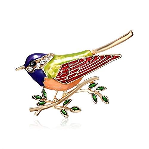 Rhinestone colorido esmalte Oriole Bird Branch Broche Pines Hombres Mujeres Aleación Broches de aves para trajes Vestido Banquete Broche Regalo-Verde