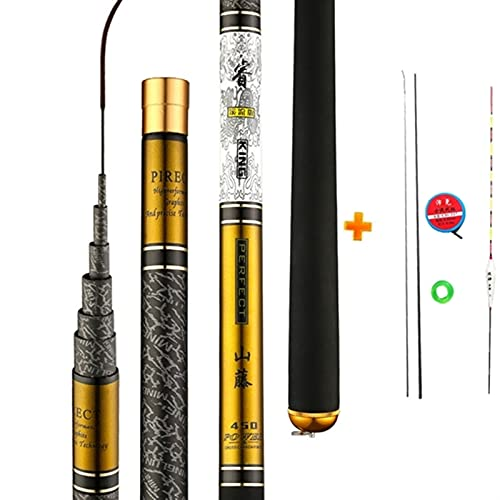 MJJCY Teleskop-Angelrute Hohe Qualität Kohlefaser 3,6 m-10m Ultra-licht-harten Reise Karpfen Angelpol-Feedc-Gießstange Vboni (Color : Yellow, Length : 10m)