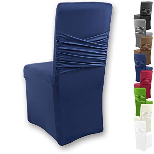 Gräfenstayn Universal-Stuhlhusse Victoria - mit eingearbeiteter Stuhlschleife - in verschiedenen Farben für runde und eckige Stuhllehnen (Blau)