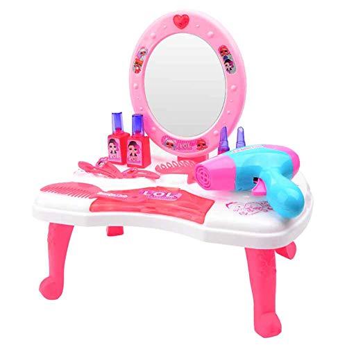 Duofenlh Mädchen Make-up Set Spielzeug Schminktisch Runde Kosmetikspiegel Schlafzimmer Kindermöbel