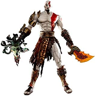 18 cm God of War Kratos in Golden Fleece Armor with Medusa Head Toy Figure