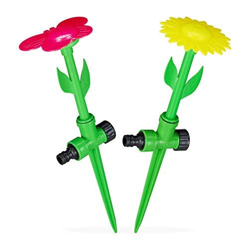 Relaxdays Sprinkler Blume, 2er Set, Spritzblume Garten, Rasensprenger Kinder, mit Erdspieß, HxD: 34 x 10 cm, rot/gelb