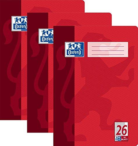 3x Oxford 384401626/100050312 Heft DIN A4, Lineatur 26, kariert/Rand 5 mm, 90 g/qm, 4-fach sortiert