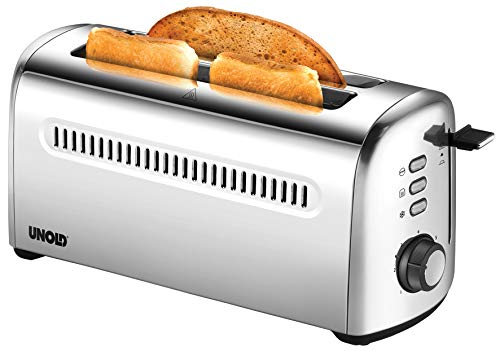 UNOLD 38366 Toaster 4er Retro, 1500 W, 2-Scheiben-Doppel-Langschlitz-Toaster für 4 Toastscheiben, Edelstahl, 4 Funktionen, 7 Röstgrade, entnehmbare Krümelschublade, mit abnehmbarem Brötchenaufsatz