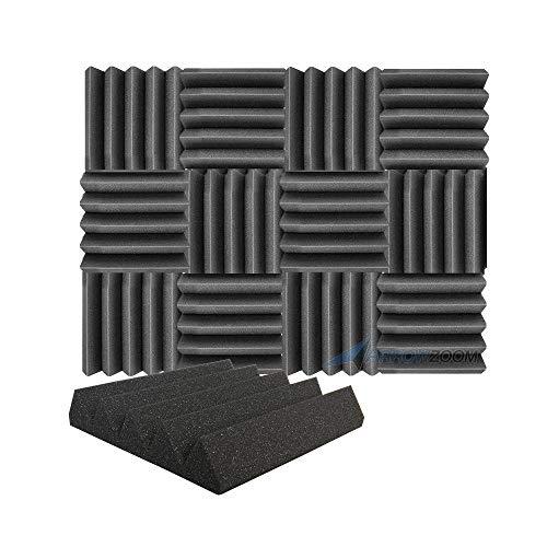 Arrowzoom 12 Paneles Absorción de Sonido Cuña Wedge Espuma Activa Absorcion Aislamiento Acustico Auto Extinguible 25x25x5cm Negro
