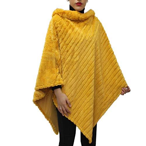 Glamexx24 Dames elegante winter bont poncho ronde hals jas dikker cape warm uit gebreid bont