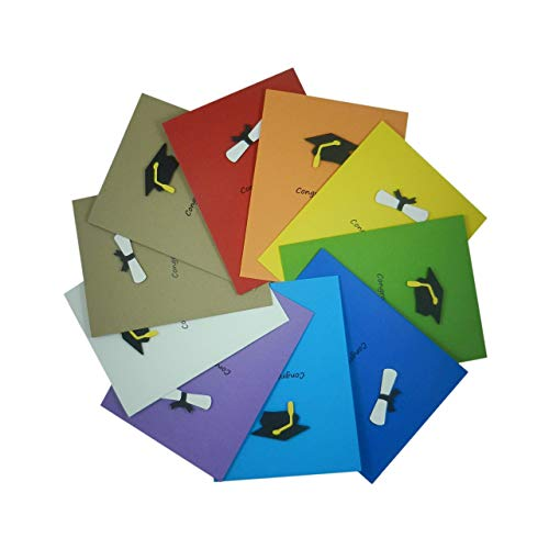 Graduation Card Variety Pack | 10 Pack with Multiple Colors | Handmade Graduation Congratulations Cards | Graduation Cap and Diploma