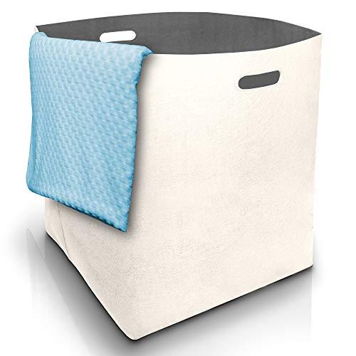 Fit Guru® Moderner Wäschekorb xxl - Edler Wäschesammler aus Filz mit Griffen - Groß und universell einsetzbare Wäschetonne 125L für Wäsche, Altpapier, Flaschen oder Spielzeugaufbewahrung Weiß