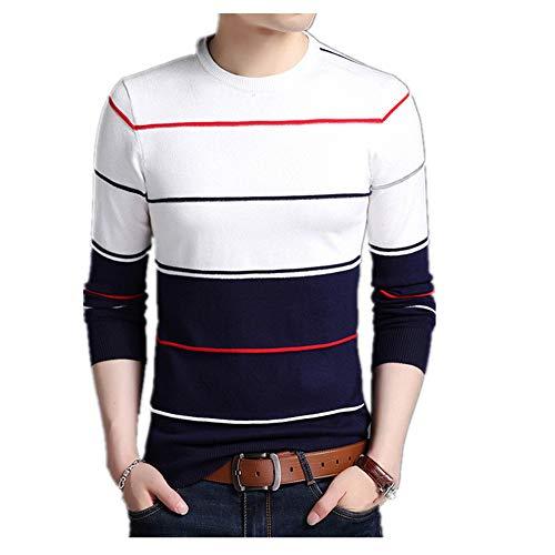 Suéter para hombre Jersey a rayas Slim Fit Jumpers de punto de lana de otoño estilo casual ropa de los hombres