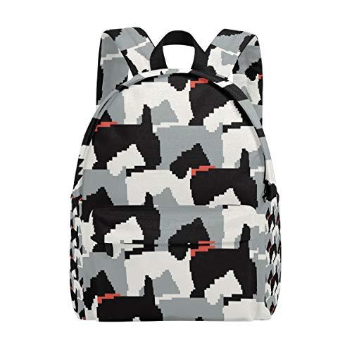 Mochila escolar negra Scottie para perros, con estampado de moda, para hombres, mujeres, niños y niñas